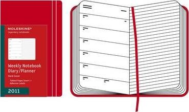 2011 Moleskine Red Pocket Weekly Notebook 12 Month Hard