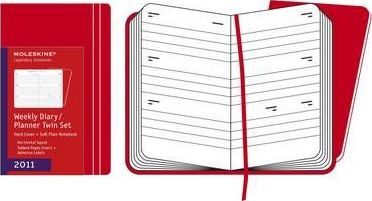 2011 Moleskine Red Twin Set Pocket Weekly Diary 12 Months Hard