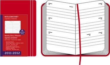 2012 Moleskine Red Hard Pocket Weekly Horizontal Diary 18 Month