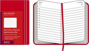 2012 Moleskine Red Pocket Daily Diary 12 Month Hard