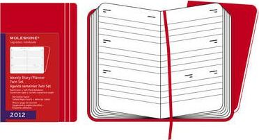 2012 Moleskine Red Twin Set Pocket Weekly Diary 12 Months Hard