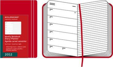 2012 Moleskine Red Large Weekly Notebook 12 Month Hard