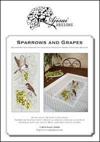 Sparrows and grapes. Cross stitch and blackwork design