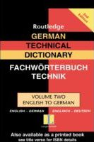 German Technical Dictionary (Volume 2)