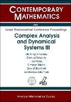 Complex Analysis and Dynamical Systems III