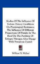 Studies of the Influence of Various Dietary Conditions on Physiological Resistance; The Influence of Different Proportions of Protein in the Food on the Partition of Urinary Nitrogen After Dosage with Potassium Cyanid