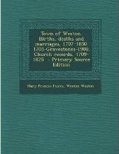 Town of Weston. Births, Deaths and Marriages, 1707-1850. 1703-Gravestones-1900. Church Records, 1709-1825 - Primary Source Edition