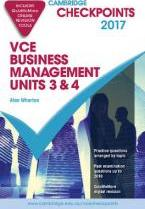 Cambridge Checkpoints VCE Business Management Units 3 and 4 2017 and Quiz Me More