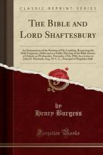 The Bible and Lord Shaftesbury