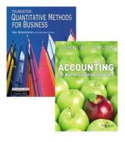 Valuepack:Foundation Quantitative Methods for Business/Accounting for Non-Accounting Students