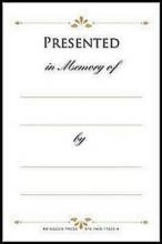 """Bookplates """"Presented in Memory Of"""""""