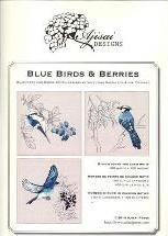 Blue birds & Berries. Cross stitch and blackwork designs
