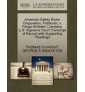 American Safety Razor Corporation, Petitioner, V. Frings Brothers Company. U.S. Supreme Court Transcript of Record with Supporting Pleadings